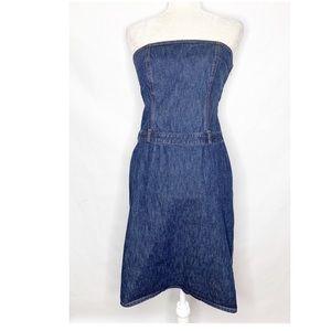 J. Crew | Dark Wash Denim Strapless Pencil Dress
